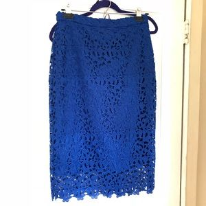 jcrew collection blue floral lace skirt size 4